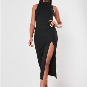 Black High-Neck Sleeveless Midi Dress